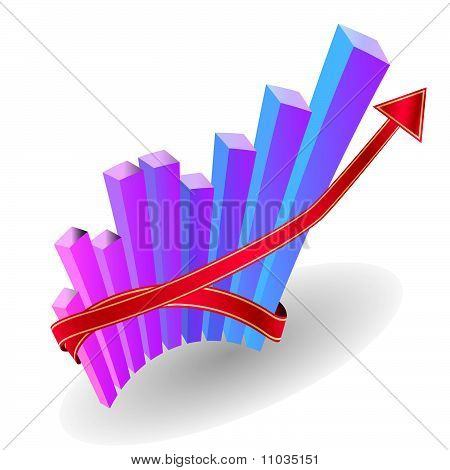 Business graph with an arrow