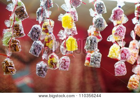 Sweet colorful candy at Nuremberg Christmas Market