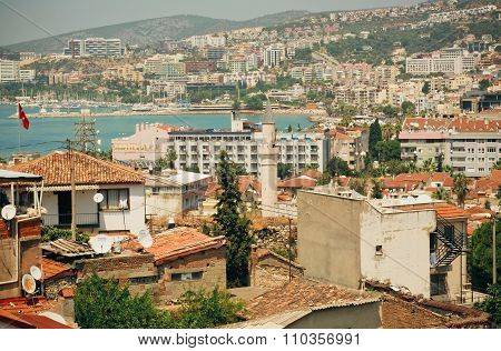 Sunny City With Modern And Historical Buildings At Aegean Coast
