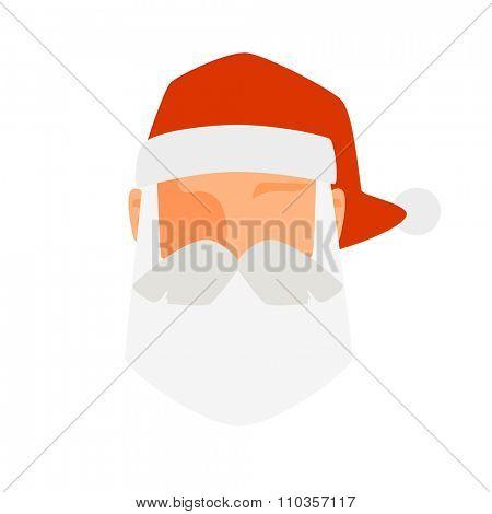 Santa Claus flat icon vector illustration. Santa Claus cartoot red hat silhouette. Santa Claus isolated on shite traditional costume. Santa Claus icon avatar face. Santa Claus face, faceicon