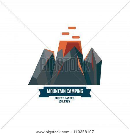 Majestic mountain peak vector illustration