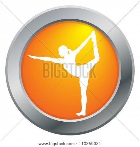 Yoga Dancer Pose Orange Icon