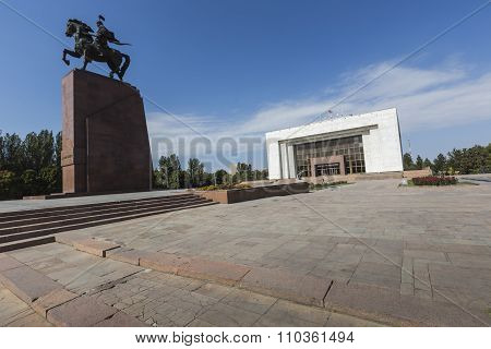 Monument Epic Of Manas On Ala-too Square. Bishkek
