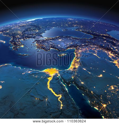 Detailed Earth. Africa And Middle East On A Moonlit Night