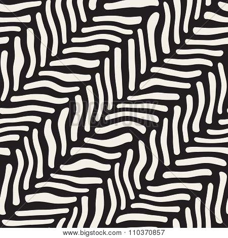 Vector Seamless Black And White Hand Drawn Diagonal Zebra Line Pavement Pattern
