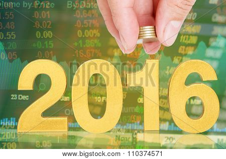 golden 2016 investor concept hand hold coin poster