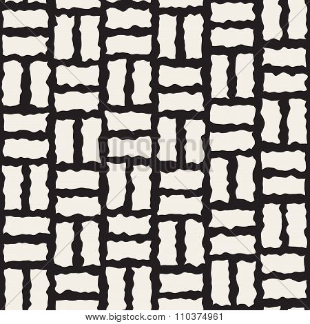 Vector Seamless Black And White Rough Hand Painted Line Pavement Grid Pattern