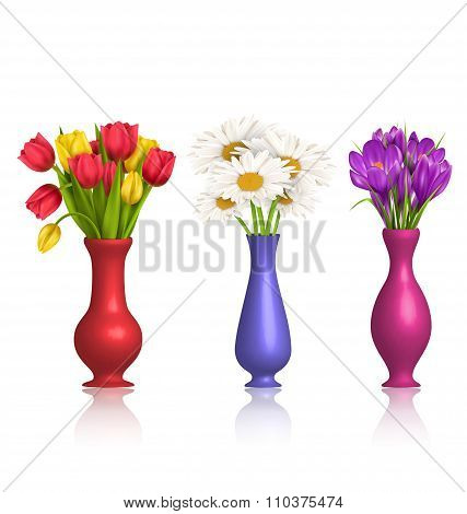 Tulips chamomiles and crocuses in vases with reflection on white