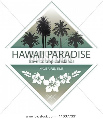 Hawaii Paradise. Summer Travel Background with Palm Trees and Hibiscus.