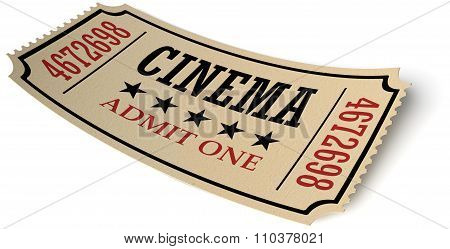 Retro Cinema Ticket With Shadow