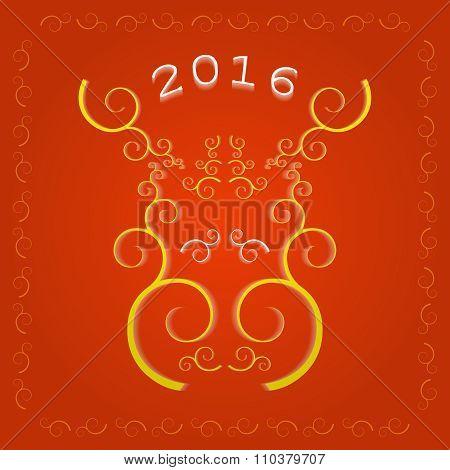 New Year 2016 greeting card, elk muzzle.