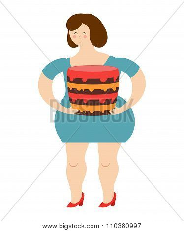 Fat Cheerful Woman And Cake. Joy Of Eating. Large Sweet Confectionary Products. Girl And Sweets. Sto