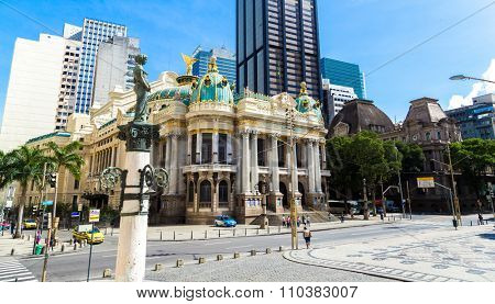 RIO DE JANEIRO, CIRCA OCTOBER 2014: Opera House in Rio de Janeiro, Brazil
