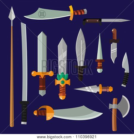 Knifes weapon collection. illustration of swords, knifes, axe, spear. Edged weapons weapon set. Knife, knife isolated, knifes silhouette. Game weapon knifes set. Knife icon