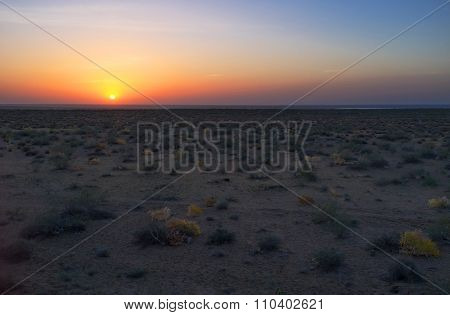 The Sunset In Desert