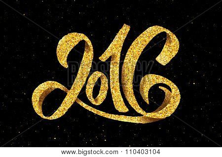 New Year 2016 gold glittering