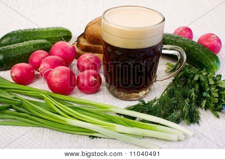 Summer kvass soup on served table with ingredients poster