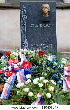 Dr. Milada Horakova Memorial At Slavin, National Cemetery, Vysehrad, Prague, Czech Republic