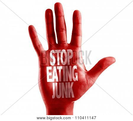 Stop Eating Junk written on hand isolated on white background poster