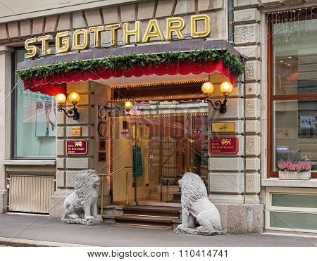 Entrance Of The Hotel St. Gotthard In Zurich