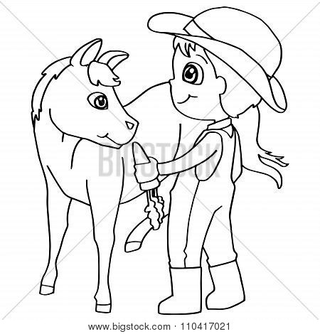 Coloring book child feeding horses vector