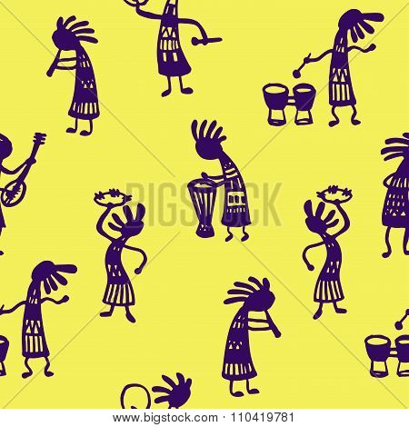 background seamless pattern African men musicians with tools sketch Doodle Ve
