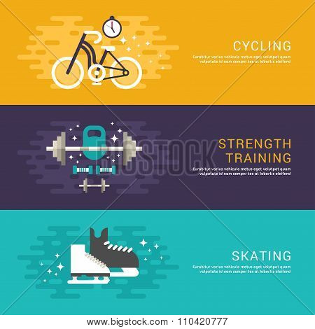 Set Of Concept Flat Style Vector Sport Illustrations. Cycling, Strenght Training, Skating. Web Banne