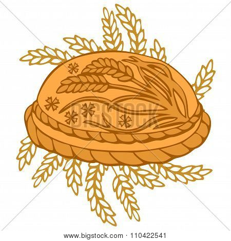 Round Loaf Karavai traditional slavic russian and ukrainian festivals and weddings bread illustration. Russian cuisine poster