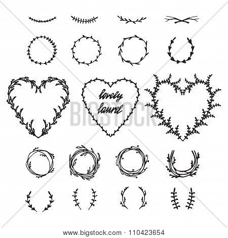 Ancient  Wreath, Text Dividers And Borders With Laurel Leaves,