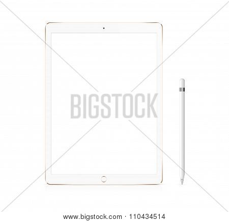 Gold Apple Ipad Pro Portable Device With Pencil