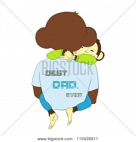 Father's day. Monkey child hugging dad.