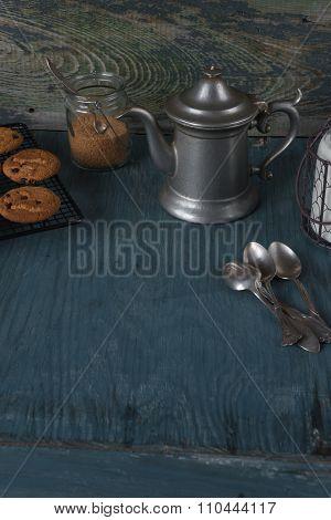 Coffeepot, Milk And Homemade Oatmeal Cookies