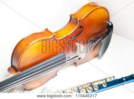 Wood Violin Body Part With Blue Flute And Score