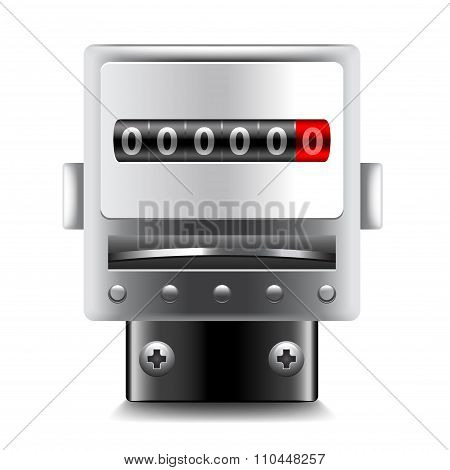 Electric Meters Isolated On White Vector