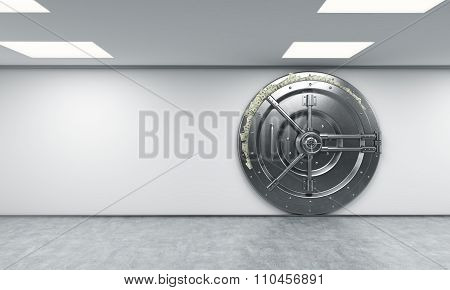 Locked Metal Safe In  Bank Depository With Dollars Stuck Out