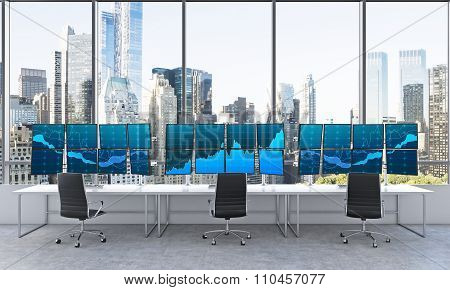 Office With 24 Working Monitors, Processing Data, Trading, New York