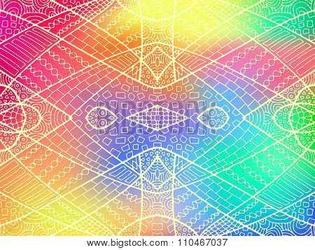 Zentangle Ornament Rainbow Background 2