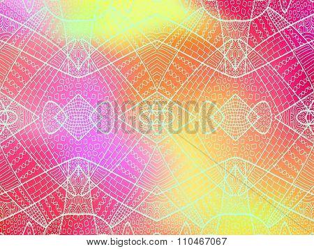 Zentangle Ornament Rainbow Background 4