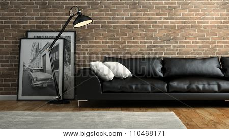 Part of  interior with brick wall and black sofa 3D rendering