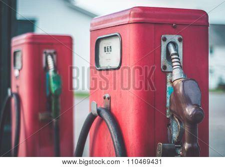 Classic Vintage Red Fuel Pumps.