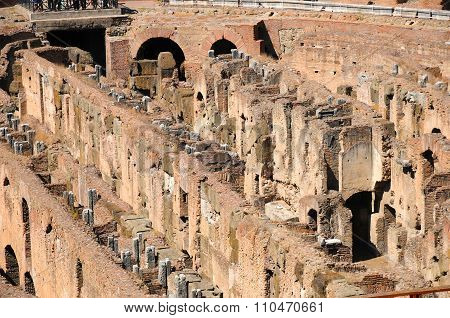 People visiting inside of Colosseum in Rome Italy