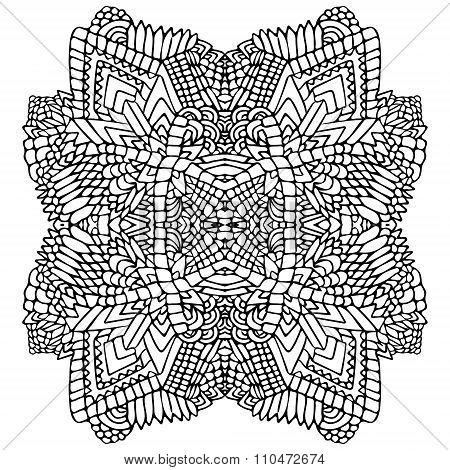 Zentangle Round Object Black White 1