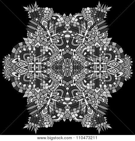 Zentangle Round Object Grey 1