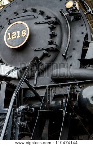Close Up Stream Powered Locomotive.