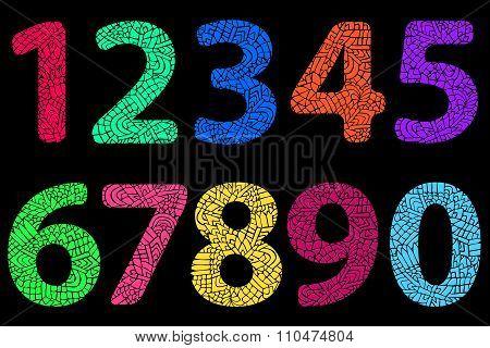 Zentangle Numbers Doodle Color Neon