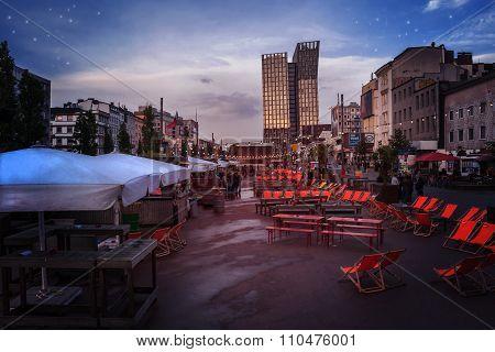 The Spielbudenplatz On The Reeperbahn In Hamburg-st. Pauli At Evening-time