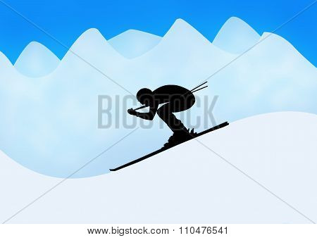 Skier In Silhouette Against Mountains