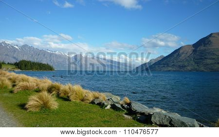 Lake Wakatipu from the Queenstown Gardens in Summer
