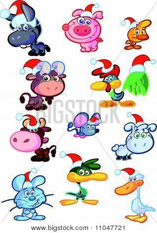 cute christmas farm animal babys