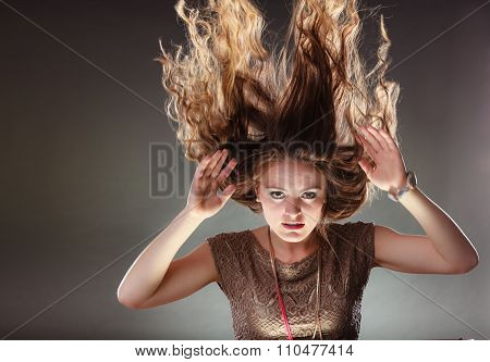 Mysterious Enigmatic Woman Girl With Flying Hair.